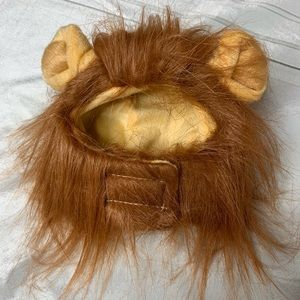 Lion Mane Cat Costume Hat with Velcro and Faux Fur